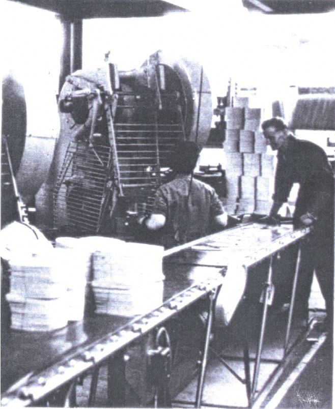Post WW2 blanking & forming printed metal sheets on a 50 ton press